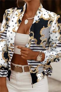 Black White Fashion Casual Print Cardigan Zipper Collar Outerwear