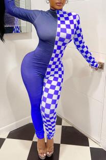 Blue Sexy Plaid Print Split Joint Zipper Zipper Collar Skinny Jumpsuits