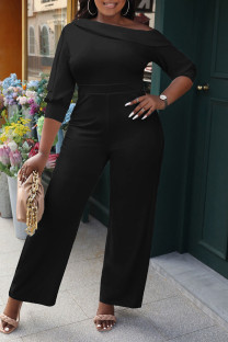 Black Casual Solid Split Joint Oblique Collar Straight Jumpsuits