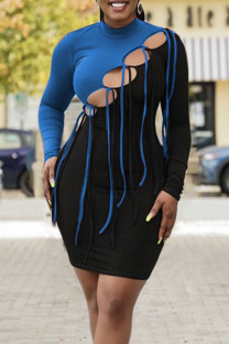 Blue Sexy Solid Hollowed Out Split Joint Frenulum O Neck One Step Skirt Dresses