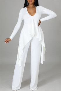 White Casual Solid Split Joint Asymmetrical V Neck Long Sleeve Two Pieces