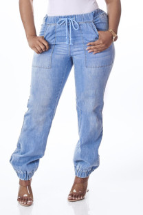 Baby Blue Casual Solid Split Joint Pocket Straight Denim Jeans