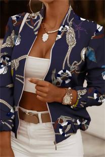 Tibetan Blue Fashion Casual Print Cardigan Zipper Collar Outerwear
