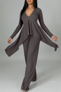 Grey Casual Solid Split Joint Asymmetrical V Neck Long Sleeve Two Pieces