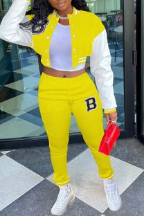 Yellow Casual Sportswear Print Split Joint Buckle Mandarin Collar Long Sleeve Two Pieces