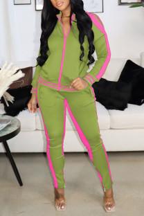 Grass Green Casual Sportswear Solid Hollowed Out Split Joint Zipper Zipper Collar Long Sleeve Two Pieces