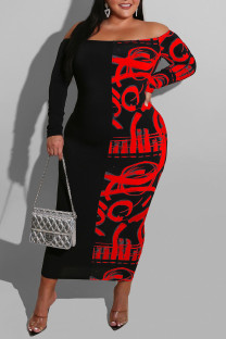 Red Sexy Print Split Joint Off the Shoulder One Step Skirt Dresses