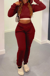 Burgundy Casual Solid Bandage Split Joint Hooded Collar Long Sleeve Two Pieces