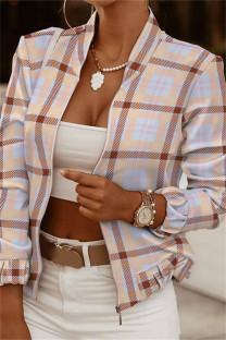 Khaki Fashion Casual Print Cardigan Zipper Collar Outerwear
