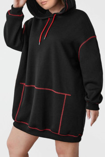 Black Casual Solid Split Joint Hooded Collar Long Sleeve Plus Size Dresses