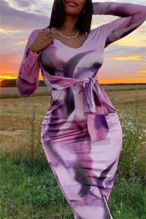 Colour Fashion Casual Print Bandage O Neck Long Sleeve Dresses