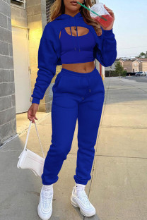 Blue Casual Street Solid Split Joint Hooded Collar Long Sleeve Three Pieces