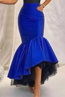 Blue Fashion Casual Solid Split Joint Regular High Waist Skirt