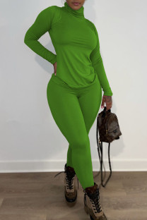 Green Casual Solid Split Joint Turtleneck Long Sleeve Two Pieces
