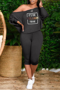 Black Fashion Casual Letter Print Basic Oblique Collar Long Sleeve Two Pieces