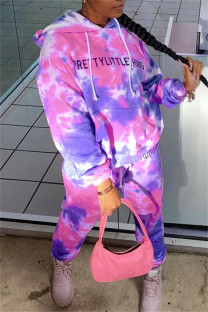 Pink Fashion Casual Letter Print Tie-dye Hooded Collar Long Sleeve Two Pieces