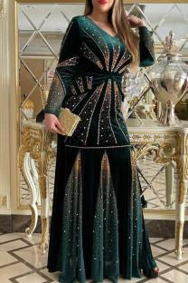 Dark Green Fashion Patchwork Hot Drill V Neck Long Sleeve Plus Size Dresses