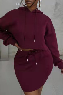 Burgundy Casual Solid Draw String Hooded Collar Long Sleeve Two Pieces