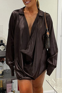Brown Sexy Solid Split Joint V Neck Long Sleeve Dresses