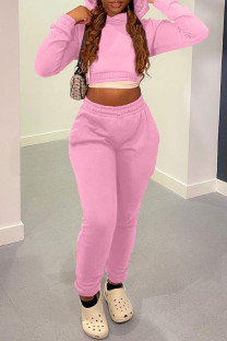 Pink Casual Solid Bandage Split Joint Hooded Collar Long Sleeve Two Pieces