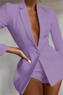 Purple Fashion Casual Solid Basic Turndown Collar Long Sleeve Two Pieces