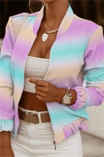 Purplish Blue Fashion Casual Print Cardigan Zipper Collar Outerwear