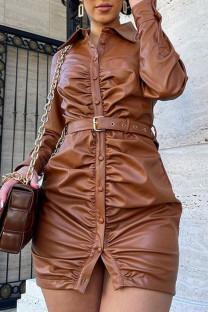 Khaki Casual Solid Split Joint Buckle Fold Turndown Collar Straight Dresses