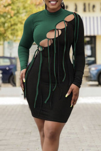 Green Sexy Solid Hollowed Out Split Joint Frenulum O Neck One Step Skirt Dresses