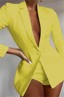 Yellow Fashion Casual Solid Basic Turndown Collar Long Sleeve Two Pieces