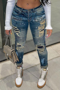 Blue Sexy Print Ripped Make Old Split Joint Mid Waist Regular Denim Jeans