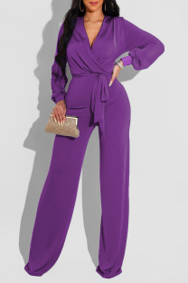 Purple Casual Solid Bandage Split Joint V Neck Straight Jumpsuits