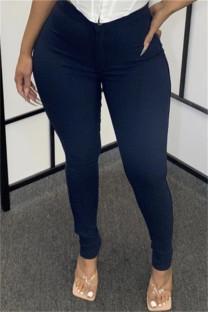 Dark Blue Fashion Casual Solid Basic Skinny High Waist Pencil Trousers