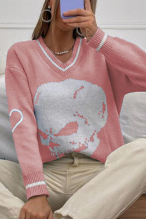 Pink Casual Print Split Joint V Neck Tops