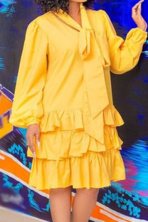 Yellow Casual Solid Split Joint O Neck Cake Skirt Dresses