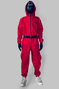 Red Punk Solid Split Joint Pocket With Belt Zipper Hooded Collar Straight Jumpsuits
