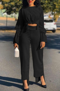 Black Casual Solid Split Joint Asymmetrical O Neck Long Sleeve Two Pieces