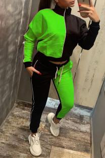 Fluorescent Green Casual Solid Split Joint Zipper Zipper Collar Long Sleeve Two Pieces
