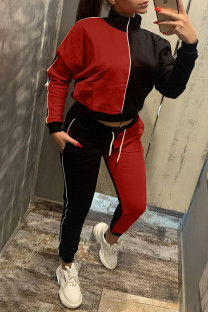 Red Casual Solid Split Joint Zipper Zipper Collar Long Sleeve Two Pieces
