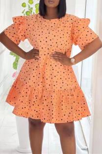 Orange Fashion Casual Dot Print Split Joint O Neck Short Sleeve Dress Dresses