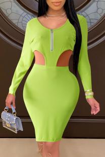 Fluorescent Green Sexy Solid Hollowed Out Zipper Collar Pencil Skirt Dresses