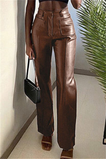 Brown Fashion Casual Solid Split Joint Regular High Waist Trousers