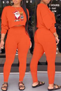 Orange Casual Print Santa Claus Pocket O Neck Long Sleeve Two Pieces