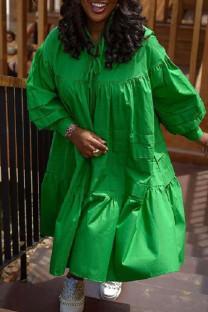 Green Casual Solid Split Joint Frenulum Fold Turtleneck Dresses