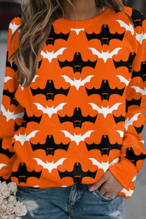 Orange Casual Street Print Split Joint O Neck Tops