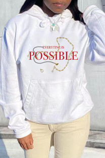 White Fashion Casual Letter Print Basic Hooded Collar Tops