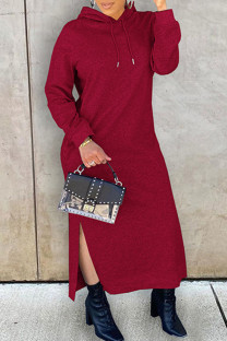 Burgundy Fashion Casual Solid Slit Hooded Collar Long Sleeve Dresses