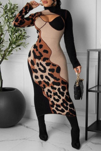 Leopard Print Fashion Sexy Patchwork Print Hollowed Out Turtleneck Long Sleeve Dresses