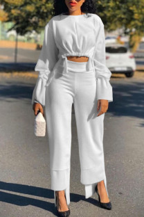 White Casual Solid Split Joint Asymmetrical O Neck Long Sleeve Two Pieces