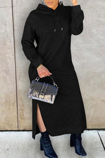 Black Fashion Casual Solid Slit Hooded Collar Long Sleeve Dresses
