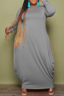 Grey Fashion Casual Solid Basic O Neck Long Sleeve Plus Size Dresses